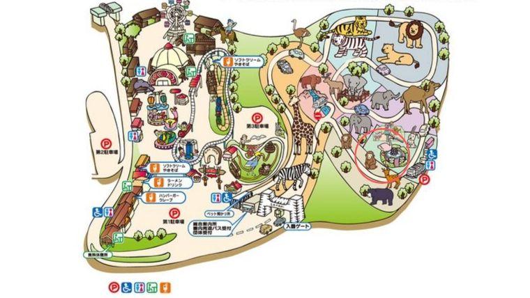 群馬サファリパーク内にあるウオーキングサファリのある場所を示した地図