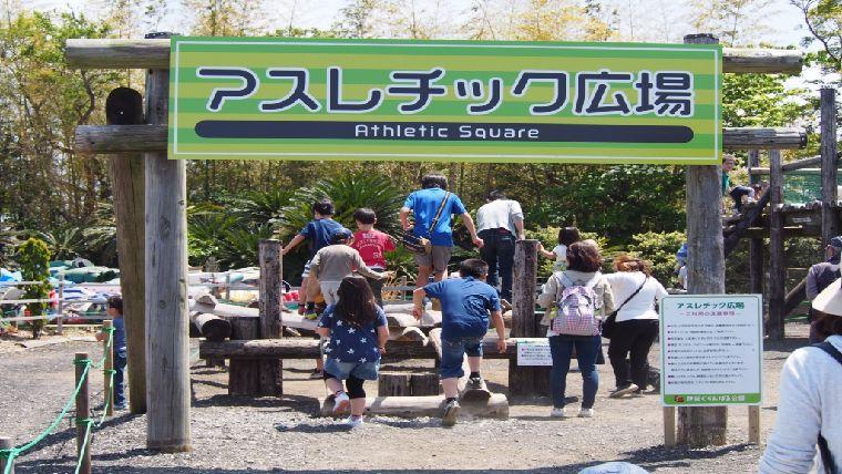 ぐらんぱる公園には子供が大好きな本格的なアスレチック施設もある