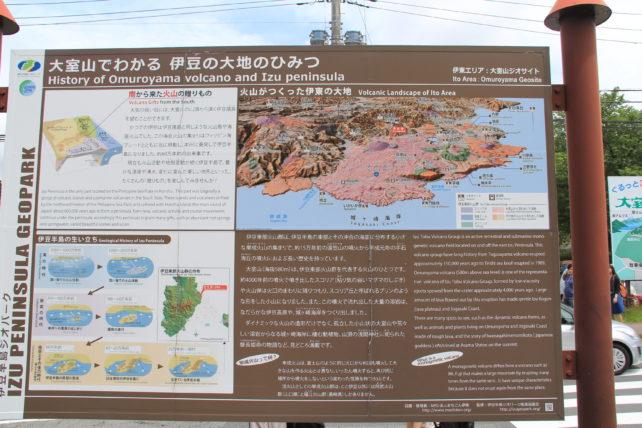 大室山ができた説明と今の状況が説明された案内板