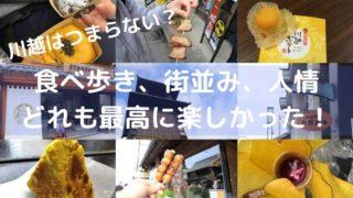 小江戸川越観光はつまらないと聞いていたが、行ってみると食べ歩きや町並みを見るだけでとても楽しい場所。