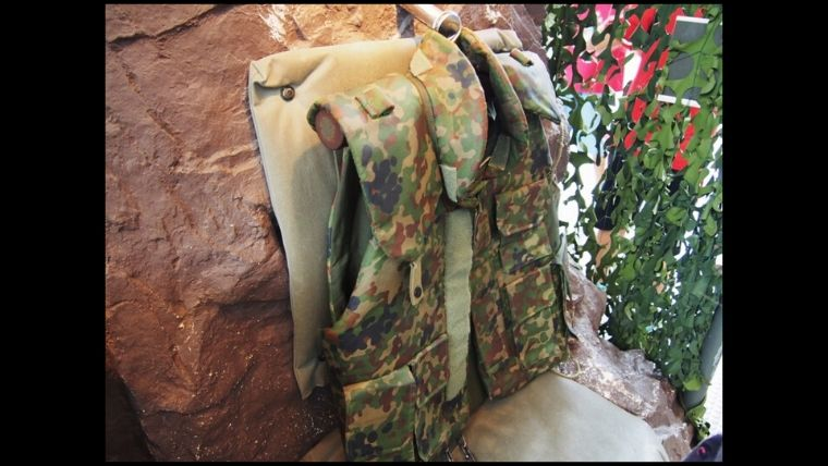 りっくんランド(陸上自衛隊広報センター)施設内にある防弾チョッキ。体験で着ることができます。