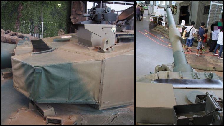りっくんランド(陸上自衛隊広報センター)にある90式戦車。イベント日には戦車の上に立つことができます。