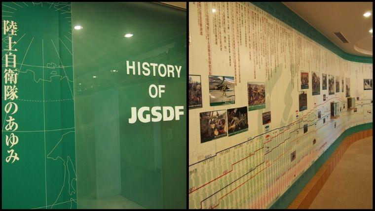 りっくんランド(陸上自衛隊広報センター)の2階にある自衛隊の歴史を学べるコーナー。