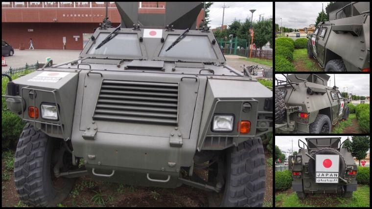 りっくんランド駐車場内に止めてある、軽装甲機動車。