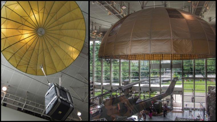 りっくんランド(陸上自衛隊広報センター)にある空挺傘(くうていさん)の中に収納されているパラシュート