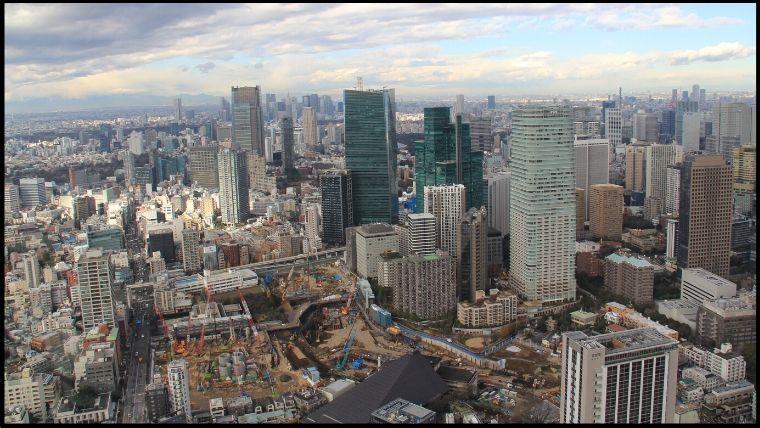 赤坂、新宿方面。遠くに都庁も見えます。