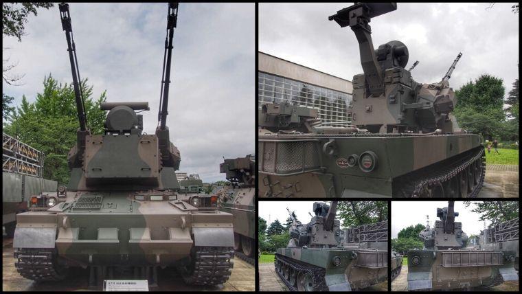 りっくんランド(陸上自衛隊広報センター)にある87式 自走高射機関砲(愛称:スカイシューター)。