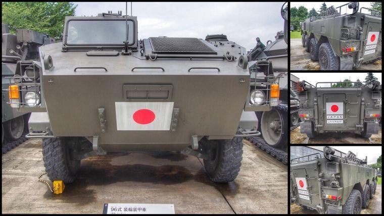 りっくんランド(陸上自衛隊広報センター)にある96式 装輪装甲車(愛称:クーガー)。試作1号機が展示されています