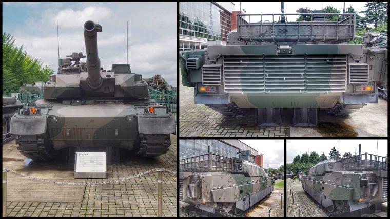 りっくんランド(陸上自衛隊広報センター)にある10式 戦車。国産4代目の戦車で、分類上は第3.5世代主力戦車。