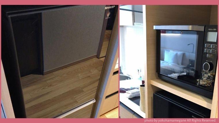 電子レンジとホテルには珍しい大きめの冷蔵庫が設置されていました。