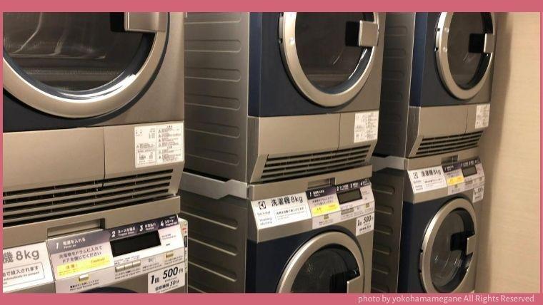 ハイアットハウス金沢のコインランドリーには、洗濯機と乾燥機が3台ずつある。洗剤と柔軟剤は自動投入式なので、持っていく必要もありませんでした。