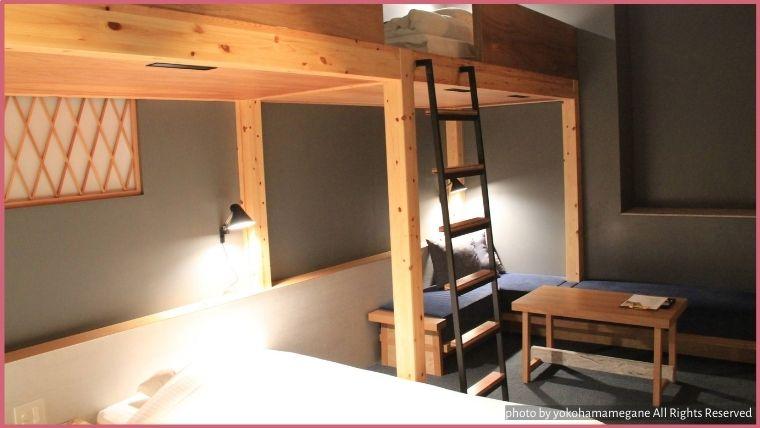 KUMU金沢にあるおしゃれなロフトタイプのベッドがある「ロフト4(LOFT4)」は大人も子供もたのしい気持ちになる部屋